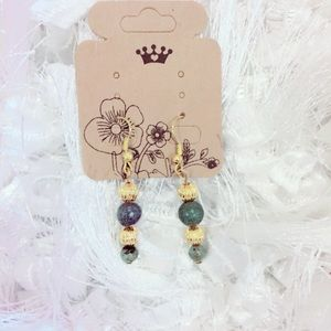 Green and Gold Beaded Earrings